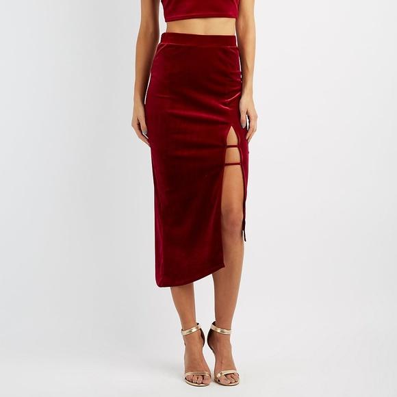 9b9681b359 Charlotte Russe Dresses & Skirts - Charlotte Russe Velvet Caged  Asymmetrical Skirt